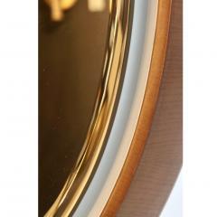 1970s Italian Vintage White Framed Cherry Wood Back Lit Oval Mirror - 1388995