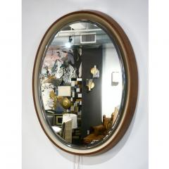 1970s Italian Vintage White Framed Cherry Wood Back Lit Oval Mirror - 1388996