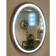 1970s Italian Vintage White Framed Cherry Wood Back Lit Oval Mirror - 1388997