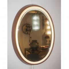 1970s Italian Vintage White Framed Cherry Wood Back Lit Oval Mirror - 1389000