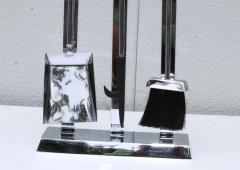 1970s Lucite Chrome Fireplace Tools And Log Holder - 1121183
