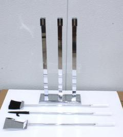 1970s Lucite Chrome Fireplace Tools And Log Holder - 1121189