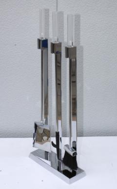 1970s Lucite Chrome Fireplace Tools And Log Holder - 1121191