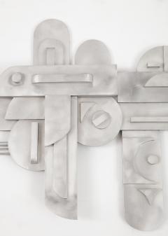 1970s Modernist Abstract Aluminum Wall Sculpture - 1515498
