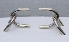1970s Modernist Steel And Chrome Italian Links Bookends - 1988077