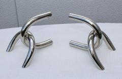 1970s Modernist Steel And Chrome Italian Links Bookends - 1988079