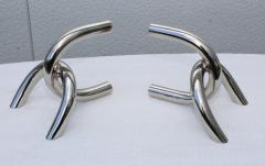 1970s Modernist Steel And Chrome Italian Links Bookends - 1988080