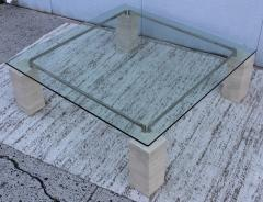 1970s Modernist Travertine Coffee Table With Floating Glass Top - 1528447
