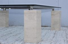 1970s Modernist Travertine Coffee Table With Floating Glass Top - 1528449