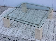 1970s Modernist Travertine Coffee Table With Floating Glass Top - 1528453