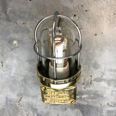 1970s Norwegian Industrial Cast Brass TEF Wall Light with Glass Shade Cage - 1116211