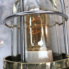 1970s Norwegian Industrial Cast Brass TEF Wall Light with Glass Shade Cage - 1116214