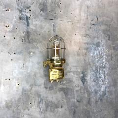 1970s Norwegian Industrial Cast Brass TEF Wall Light with Glass Shade Cage - 1116218