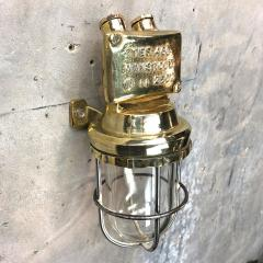 1970s Norwegian Industrial Cast Brass TEF Wall Light with Glass Shade Cage - 1116219