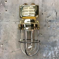 1970s Norwegian Industrial Cast Brass TEF Wall Light with Glass Shade Cage - 1116220