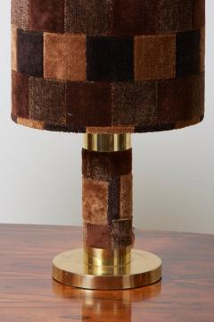 1970s Pair of Hollywood Regency Table Lamps in Brass and Carpet - 1033874
