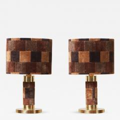 1970s Pair of Hollywood Regency Table Lamps in Brass and Carpet - 1034158