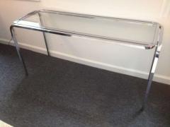 1970s Polished Chrome Glass Sofa Table - 79992