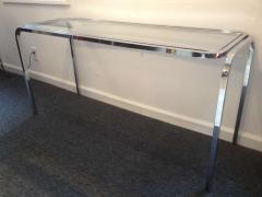 1970s Polished Chrome Glass Sofa Table - 79993