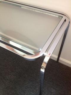 1970s Polished Chrome Glass Sofa Table - 79997