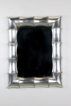 1970s Regency Faux Bamboo Silver Leaf Mirror - 237214