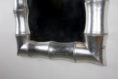 1970s Regency Faux Bamboo Silver Leaf Mirror - 237216