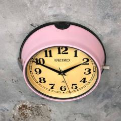 1970s Seiko Retro Vintage Industrial Antique Steel Quartz Wall Clock Pink - 951067