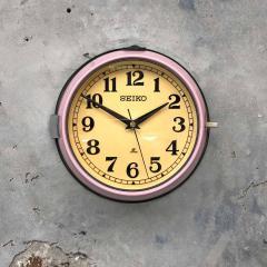 1970s Seiko Retro Vintage Industrial Antique Steel Quartz Wall Clock Pink - 951068