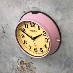1970s Seiko Retro Vintage Industrial Antique Steel Quartz Wall Clock Pink - 951069