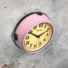 1970s Seiko Retro Vintage Industrial Antique Steel Quartz Wall Clock Pink - 951070