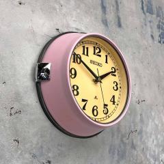 1970s Seiko Retro Vintage Industrial Antique Steel Quartz Wall Clock Pink - 951071