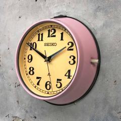1970s Seiko Retro Vintage Industrial Antique Steel Quartz Wall Clock Pink - 951072