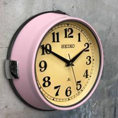 1970s Seiko Retro Vintage Industrial Antique Steel Quartz Wall Clock Pink - 951073