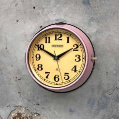 1970s Seiko Retro Vintage Industrial Antique Steel Quartz Wall Clock Pink - 951074