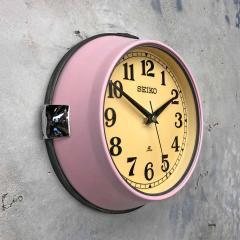 1970s Seiko Retro Vintage Industrial Antique Steel Quartz Wall Clock Pink - 951075