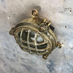 1970s Small Cast Brass Glass 6 Bar Bulkhead Wall Cage Light - 1140125