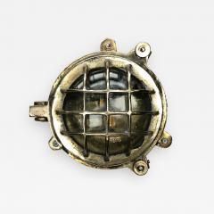 1970s Small Cast Brass Glass 6 Bar Bulkhead Wall Cage Light - 1141761