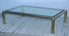 1970s Solid Brass With Glass Top Large Modern Coffee Table - 1220642