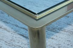 1970s Solid Brass With Glass Top Large Modern Coffee Table - 1220643