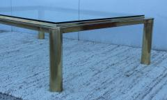 1970s Solid Brass With Glass Top Large Modern Coffee Table - 1220645