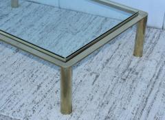 1970s Solid Brass With Glass Top Large Modern Coffee Table - 1220646