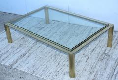 1970s Solid Brass With Glass Top Large Modern Coffee Table - 1220647