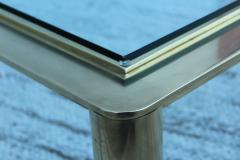 1970s Solid Brass With Glass Top Large Modern Coffee Table - 1220648