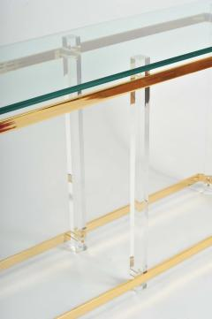 1970s US lucite and brass console table - 747522