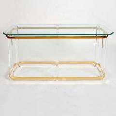 1970s US lucite and brass console table - 747524