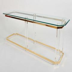 1970s US lucite and brass console table - 747525