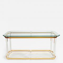 1970s US lucite and brass console table - 749243