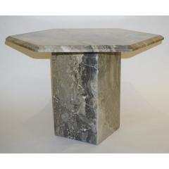 1970s Vintage Italian 3 Geometric White Gray and Red Vein Marble Nesting Tables - 950022
