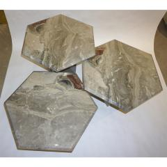 1970s Vintage Italian 3 Geometric White Gray and Red Vein Marble Nesting Tables - 950023