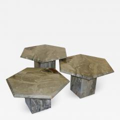 1970s Vintage Italian 3 Geometric White Gray and Red Vein Marble Nesting Tables - 950724